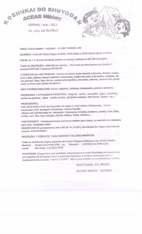 Informações do koshukai de Suzano